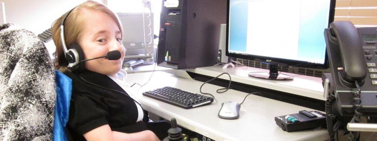 Amelia at a computer