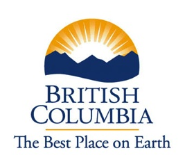 Province of British Columbia Logo: rising sun over mountains with the words British Columbia The Best Place on Earth