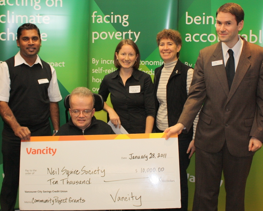 From L ro R: Munesh (Neil Squire Society), Paul (Computer Comfort Tutor), Suzanne (Neil Squire Society), Patricia (Neil Squire Society), and Scott (Vancity)