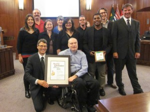 Neil Squire Society staff accepting the Access and Inclusion Award for Computer Comfort