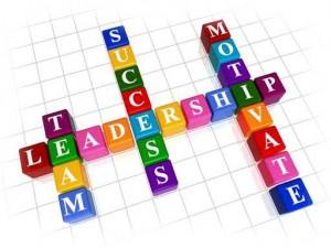 the words: Leadership Team Success and Motivate on a Scrabble board