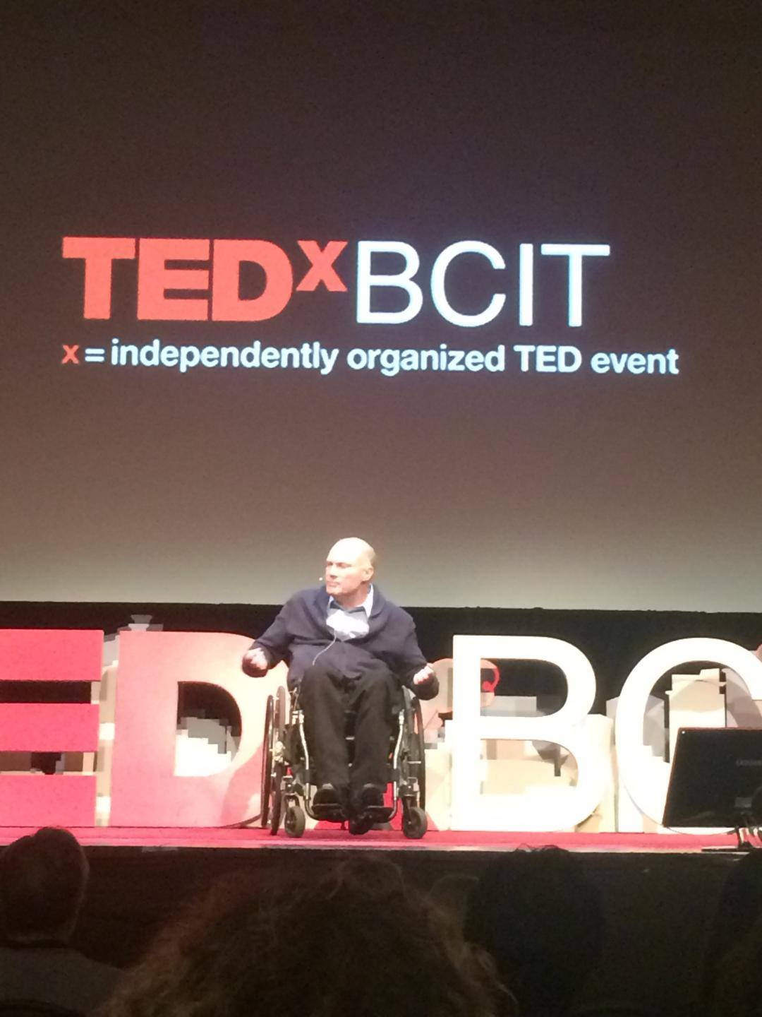 Gary Birch on stage during his TEDxBCIT talk