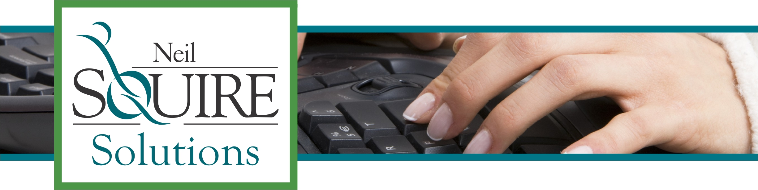 Neil Squire Solutions Logo and hands on a keyboard