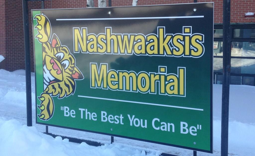 Sign for Nashwaaksis Memorial School