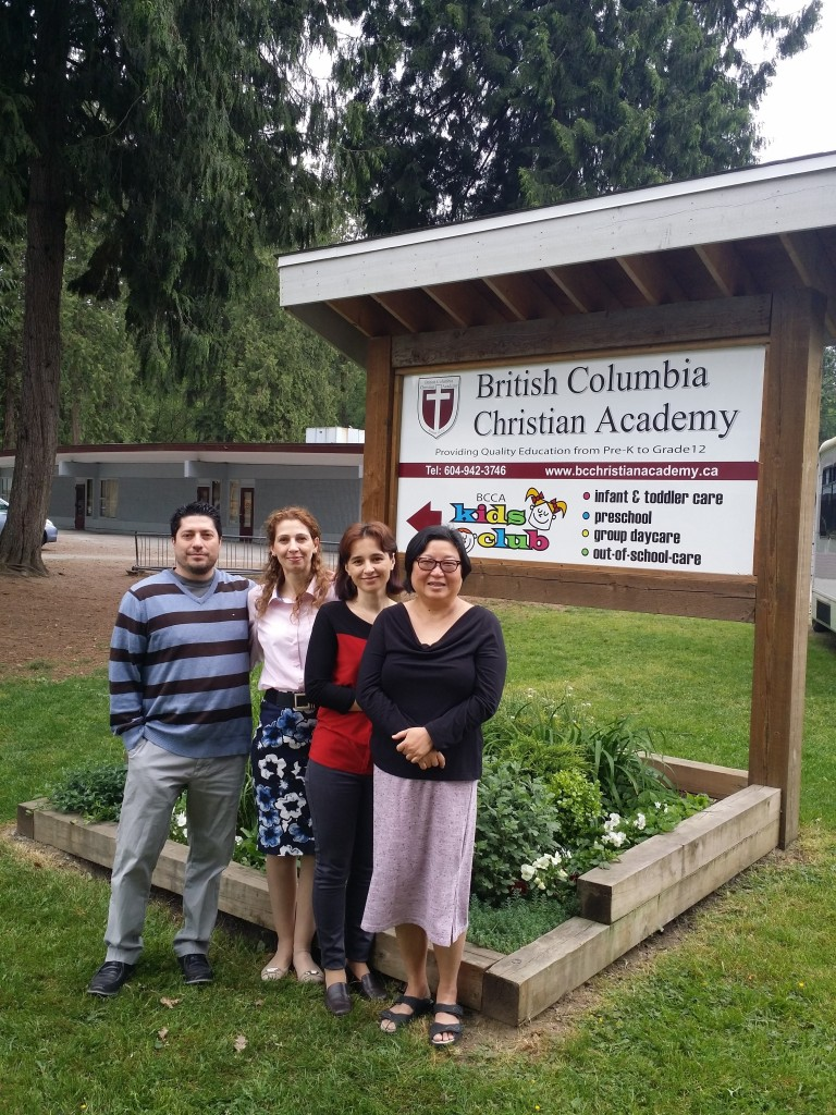 Pictured Left to Right: Greg Scott, Job Developer at the Neil Squire Society; Silviya Angelova, Working Together Participant; Laurentia Rosu, Working Together Participant; Rosie Shen, Business Administrator at the BC Christian Academy.