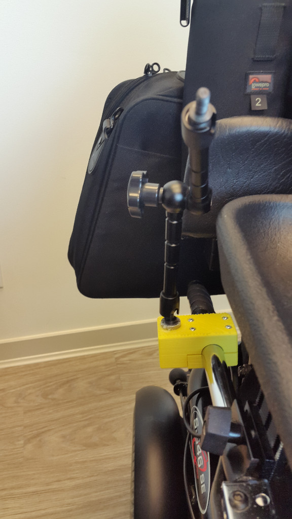 Mounted to wheelchair