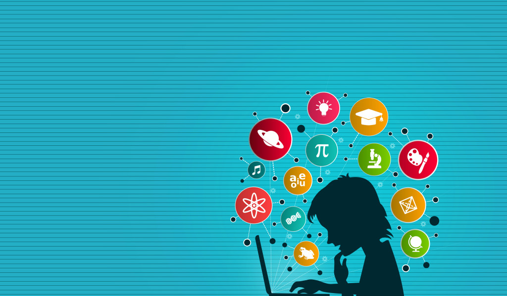 A Child Learning On-Line - Study and Knowledge graphics above her head