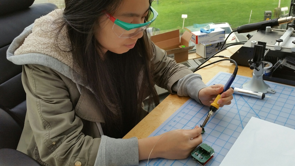 kelly-working-on-a-lipsync-soldering