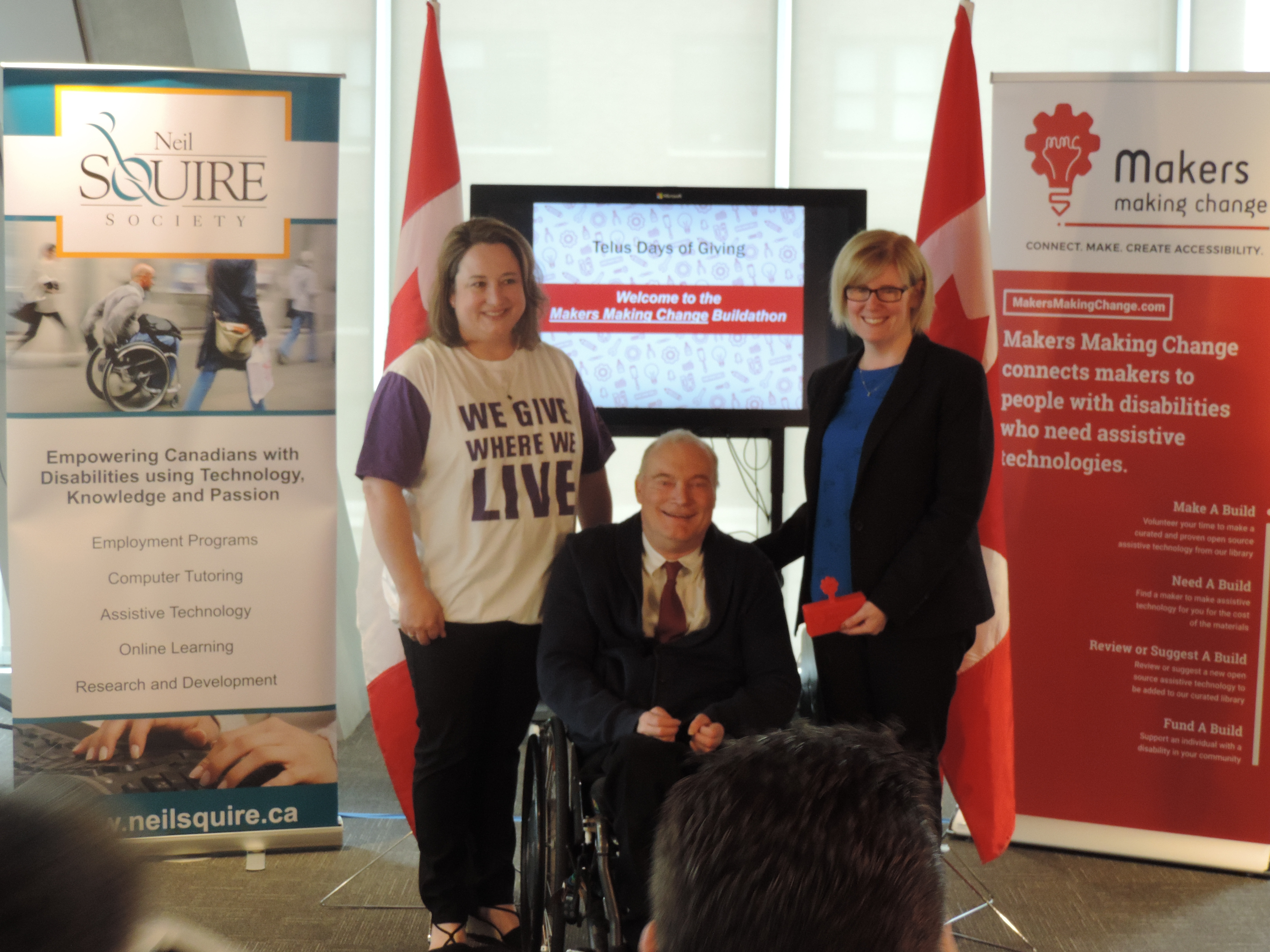 Pictured left-to-right: TELUS International Senior Vice-President and Chief Corporate Officer, Marilyn Tyfting; Neil Squire Society Executive Director, Gary Birch; and Minister of Sport and Persons with Disabilities, Carla Qualtrough.