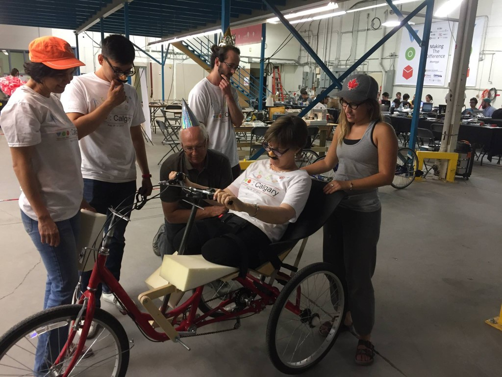 From the Makeathon, 'Team Homegrown Cyclone' worked to make an exercise bike accessible for a double knee amputee.
