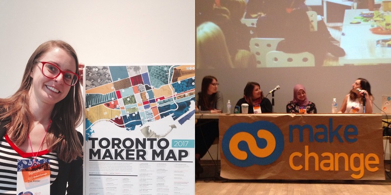 (left) Zee standing by a poster; (right) Zee at the panel