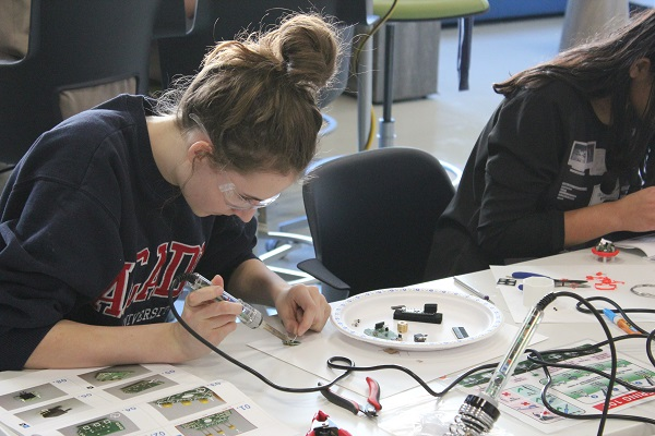 Above: A West Island College student working on a LipSync during our buildathon with STEM Learning Lab in Calgary in December