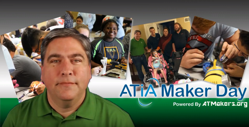 A screen capture of the ATIA Maker Day video featuring Bill Binko