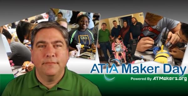 A screen capture of the ATIA Maker Day video featuring Bill Binko