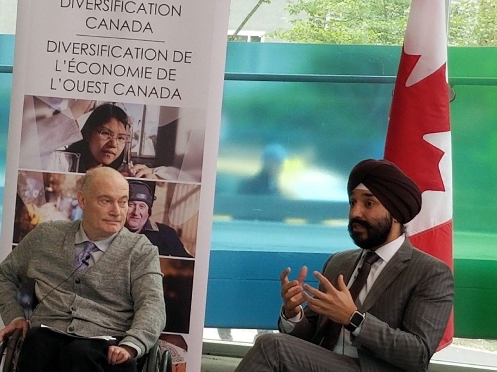 Gary Birch, Executive Director, Neil Squire Society; the Honourable Navdeep Bains, Canada's Minister of Innovation, Science and Economic Development