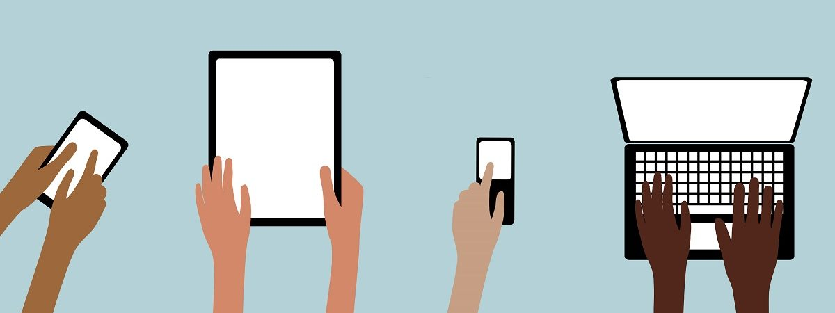 hands using technology illustration