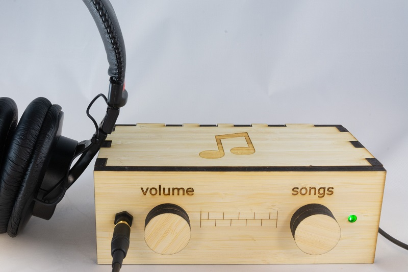 The laser-cut design of the music player