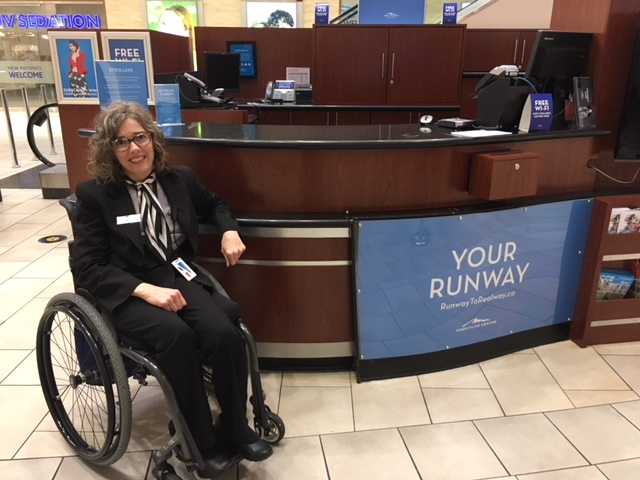Jessica at her new job at the Coquitlam Centre