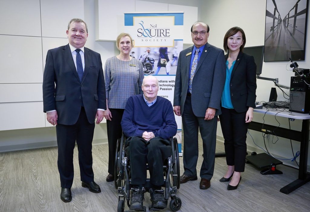 Left to Right: The Honourable Shane Simpson; Janet Rutledge, MLA Burnaby North; Gary Birch, Executive Director of Neil Squire Society; Raj Chouhan, MLA Burnaby North; Katrina Chen, MLA Burnaby-Lougheed.