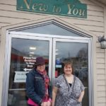 Patricia and Michelle outside the New to You store