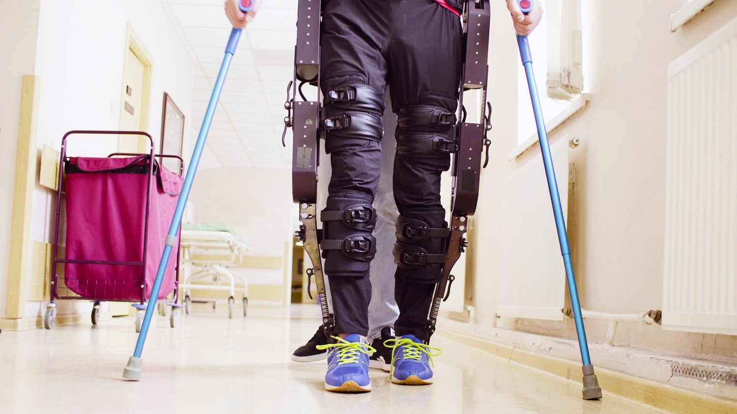 A person trying out the ReWalk exoskeleton