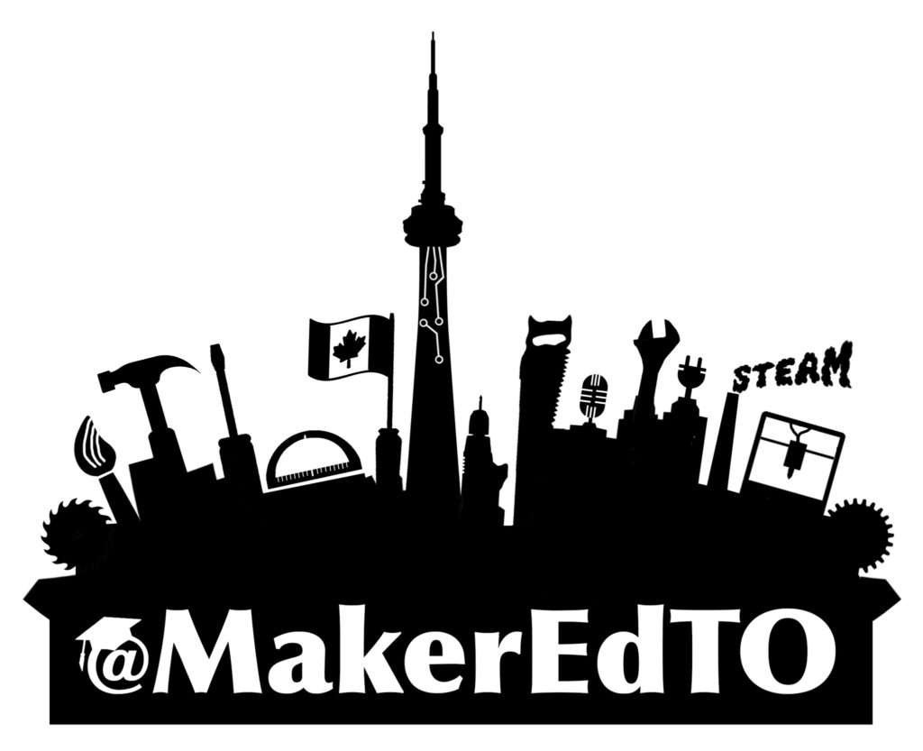 "Black silhouette of CN Tower, tools, and Canadian flag with ""MakerEdTO"" in white text"