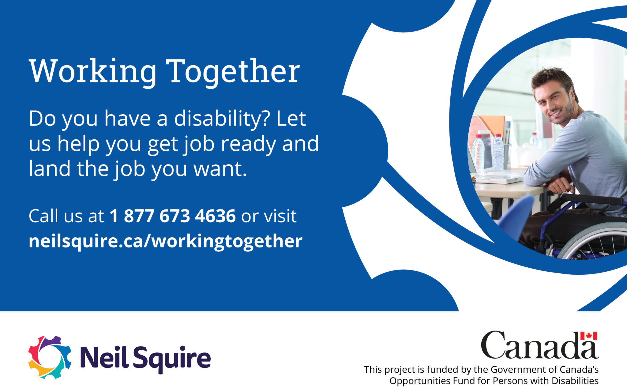 Working Together graphic, with a man in a wheelchair at a desk