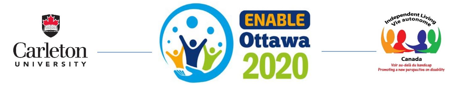 Enable Ottawa, University of Carleton, and Independent Living Canada Logos