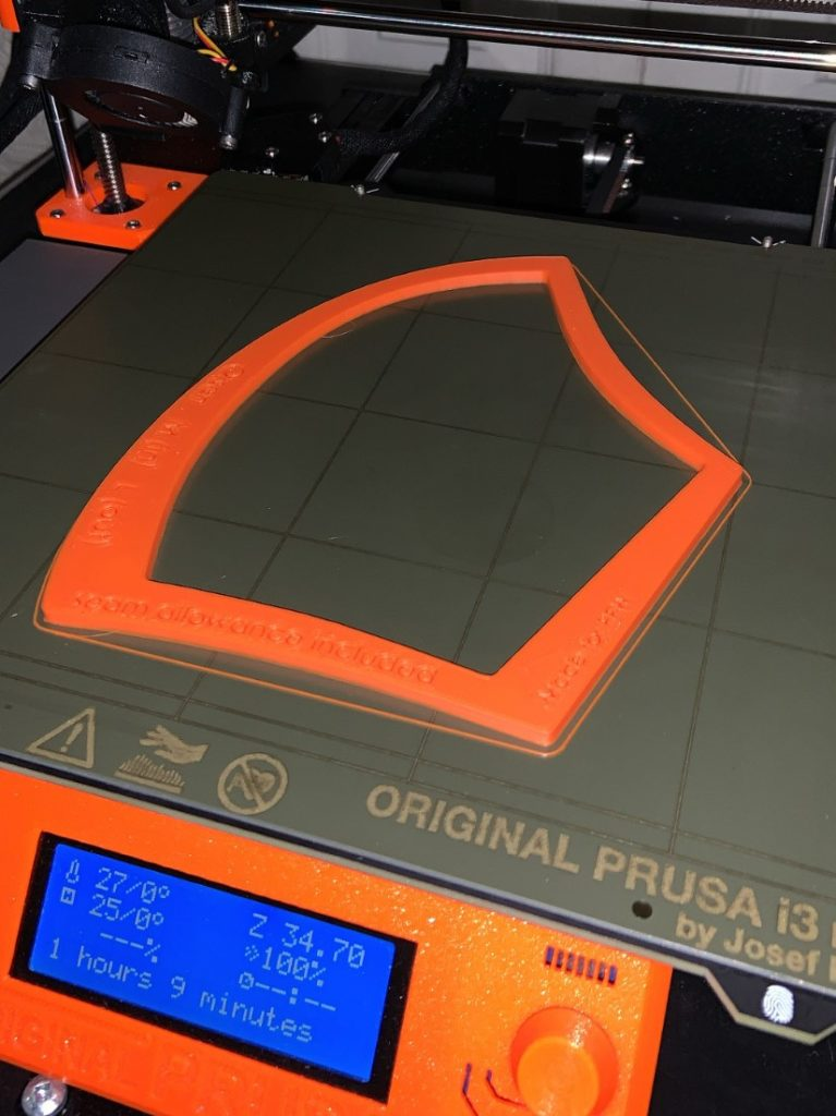 mask template being 3D printed