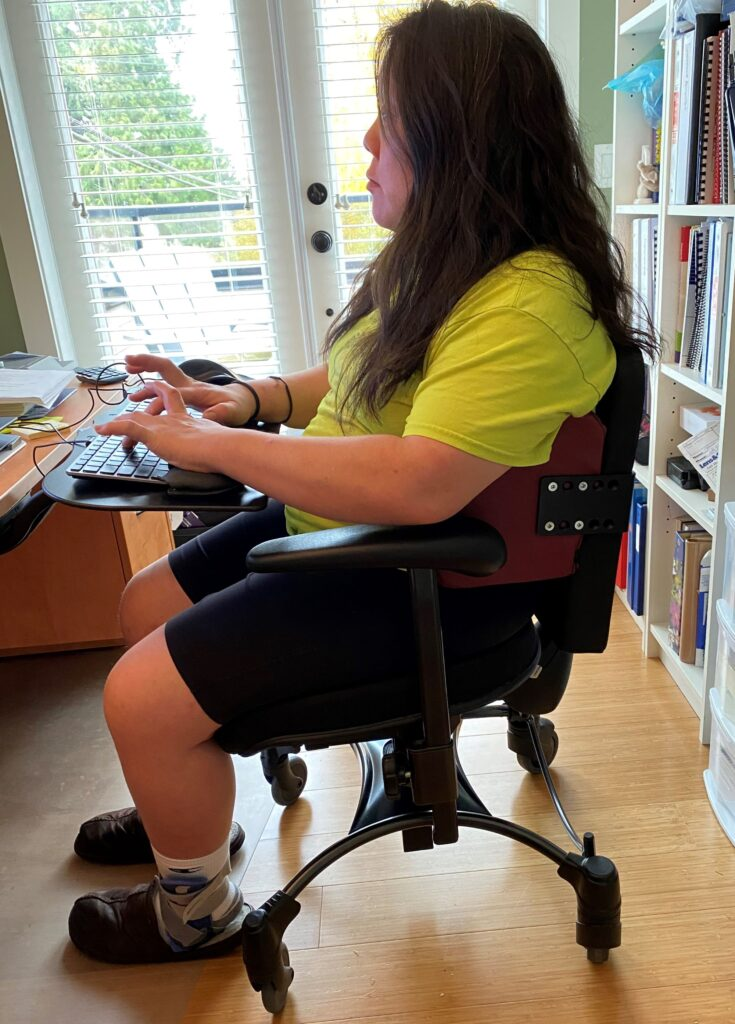 Karen using her setup while working