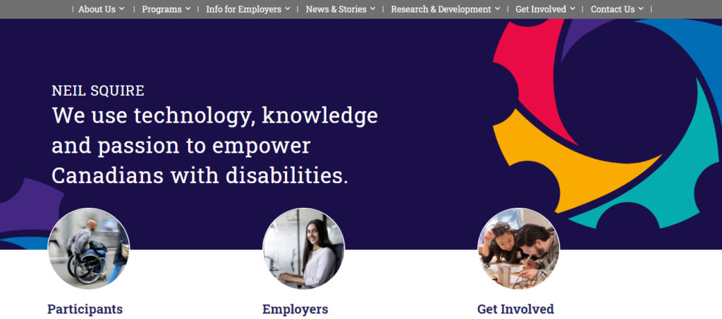 A screenshot of the header area of our homepage