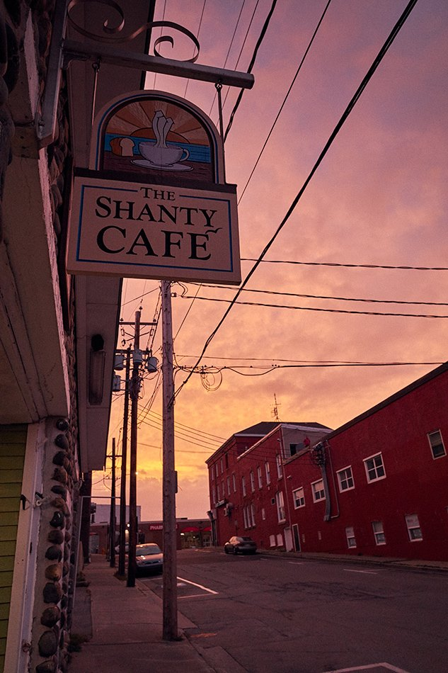 The Shanty Cafe sign on the outside