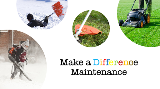 A collage showing some services offered by Make a Difference: snow clearing and removal grass cutting