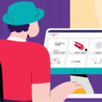 Illustration of person wearing a hat, using their computer. They are on the Makers Making Change website, selecting a device
