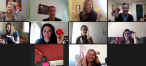 A screenshot of the virtual build over Zoom featuring the therapists at PlayFull Potential and Makers Making Change staff
