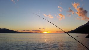 Water body in the background, with the setting sun. A fishing rod in the foreground