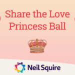 Event banner with a crown, hearts, a mannequin, and a teacup