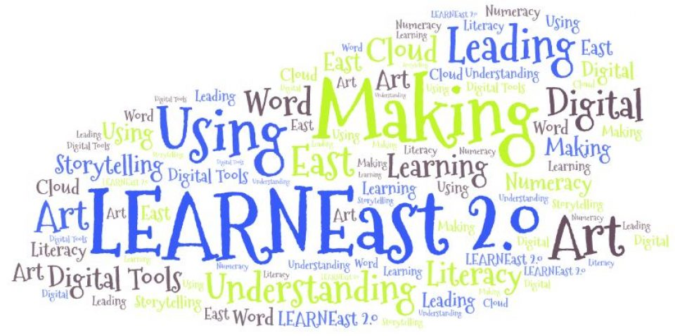 """Word cloud with words like learning, understanding, making, literacy, etc. In the middle is a huge """"LearnEast 2.0"""" in blue"""