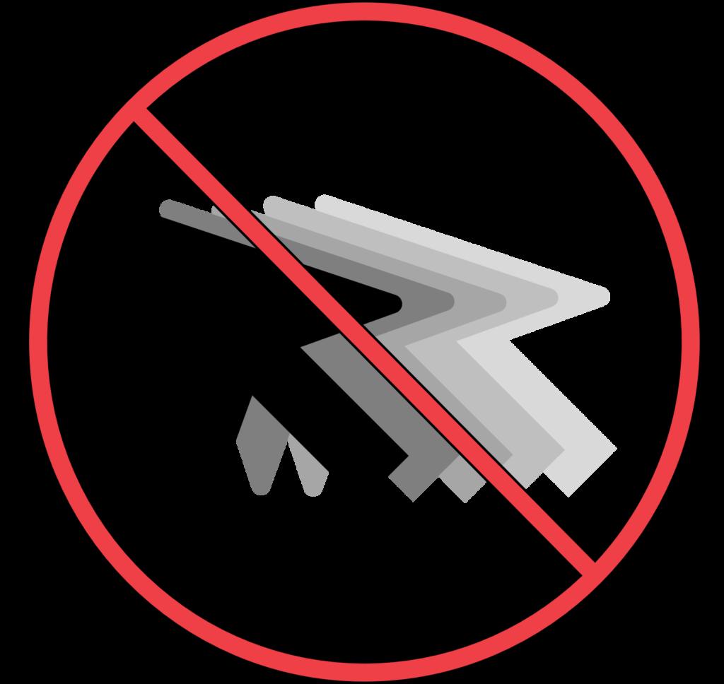 a no symbol over a cursor drifting